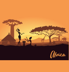 Tribal women on background an african vector