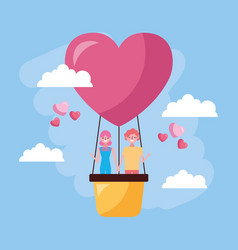Valentines day celebration with lovers in balloon vector