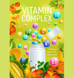 Vitamin complex fruits minerals pharmacy poster vector