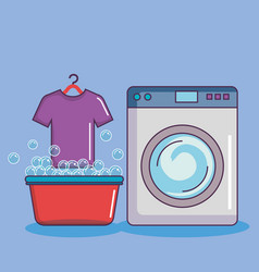 washing machine with basin tshirt soap bubbles vector image