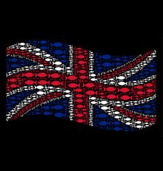 waving uk flag mosaic of fish pair icons vector image