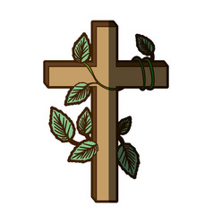 white background with wooden cross and creeper vector image