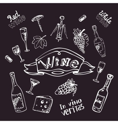 Wine set on chalk board vector image