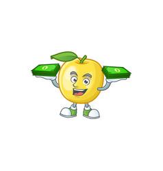 With money bag golden apple cartoon character vector
