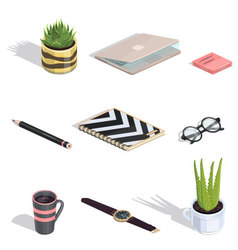 Workspace items isometric icons vector image