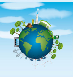 World ecological composition with sustainable vector