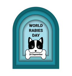 World rabies day banner with paper cut dog vector
