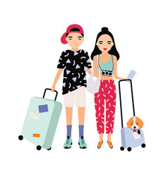 young male and female tourists dressed in trendy vector image