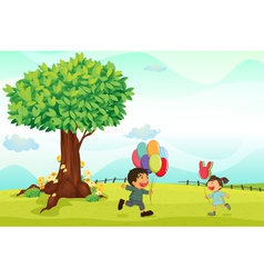 kids playing outdoor vector image vector image