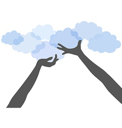 People hands hold up cloud computing vector image vector image