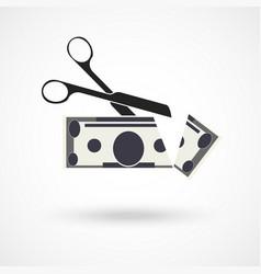 scissors cut money vector image vector image