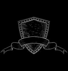 Shield with award ribbon banner black hand drawn vector