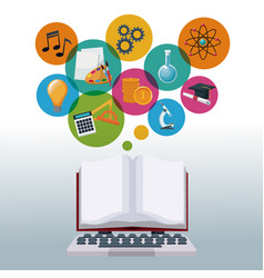 tech laptop and display open book with bubbles vector image