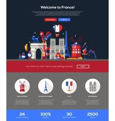 Traveling to France website header banner with vector image