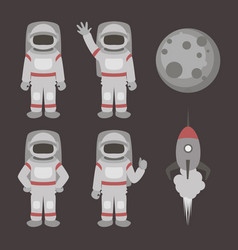 astronauts characters set vector image
