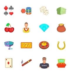 Casino icons set cartoon style vector image