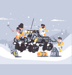 friends rest in winter in mountains vector image vector image