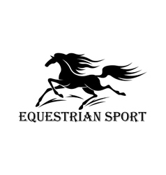 Horse racing symbol with running wild mustang vector image vector image