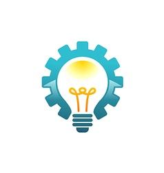 light bulb gear work idea logo vector image vector image