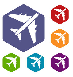 passenger airliner icons set vector image