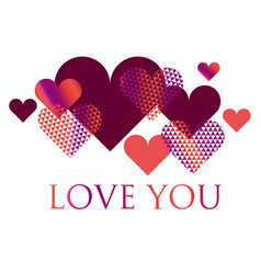 pink and white geometry hearts valentines day vector image