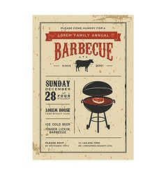 Vintage barbecue invitation card on old paper vector image
