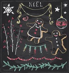 Vintage Christmas Chalkboard Hand Drawn Set 6 vector image vector image