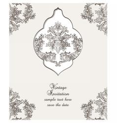 Vintage card damask baroque pattern vector
