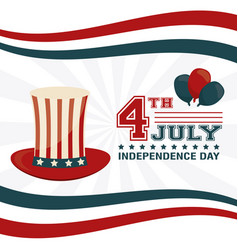 4th july independence day hat balloons decoration vector image