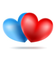 blue and red heart vector image vector image