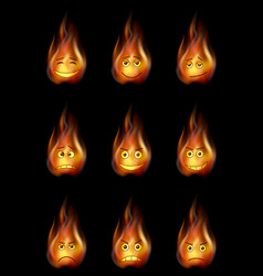 fire smileys set vector image vector image