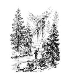 Fisherman fishing in mountains river vector image