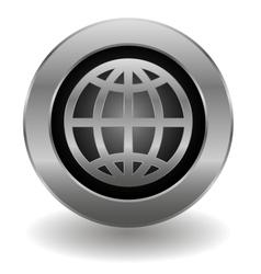 Metallic planet button vector image vector image