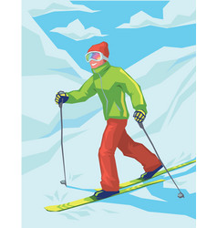 young active man skiing in mountains vector image