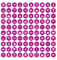 100 journalist icons hexagon violet vector