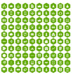 100 startup icons hexagon green vector image