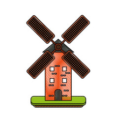 antique windmill building vector image