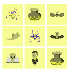 assembly flat cute bat spider book skull ghost vector image