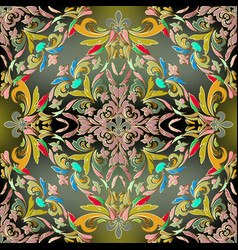 baroque colorful seamless pattern ornate bright vector image