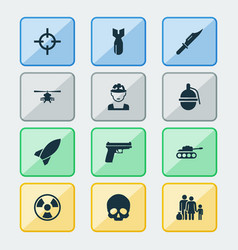 Battle icons set collection of bombshell rocket vector