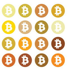 bitcoin icon in different gold color vector image