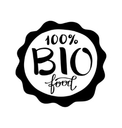 black and white handwritten inscription bio food vector image