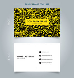 Business name card yellow marble texture on black vector