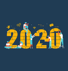 Business people building 2020 vector