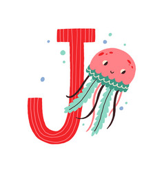 Capital letter j english childish alphabet with vector