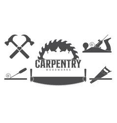 Carpentry tools labels template sawmill emblem vector
