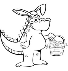 cartoon dinosaur wearing rabbit ears and holding a vector image
