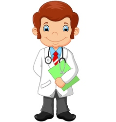 Cartoon doctor holding blank sign vector image