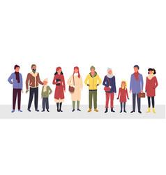 cartoon group cute man woman kid characters in vector image
