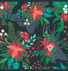 christmas floral seamless pattern with deer vector image